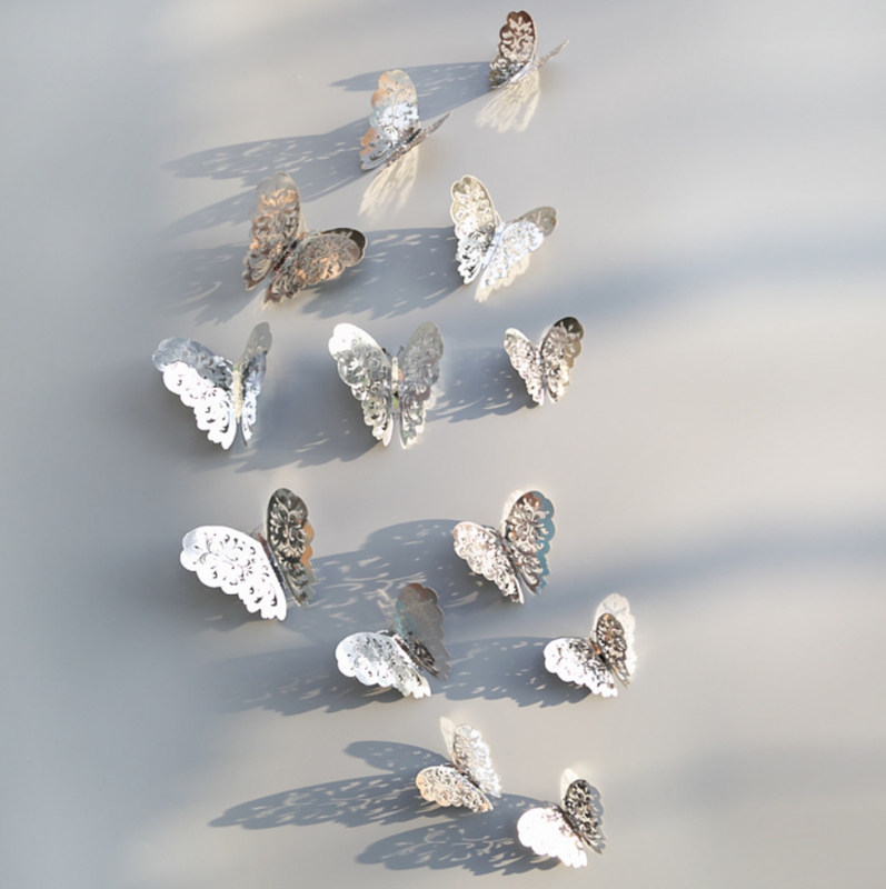 12 stuks zilveren 3d vlinders muurdecoratie