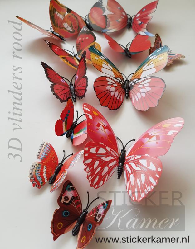 Kleurrijke 3D vlinders rood - 12 stuks - muurdecoratie babykamer