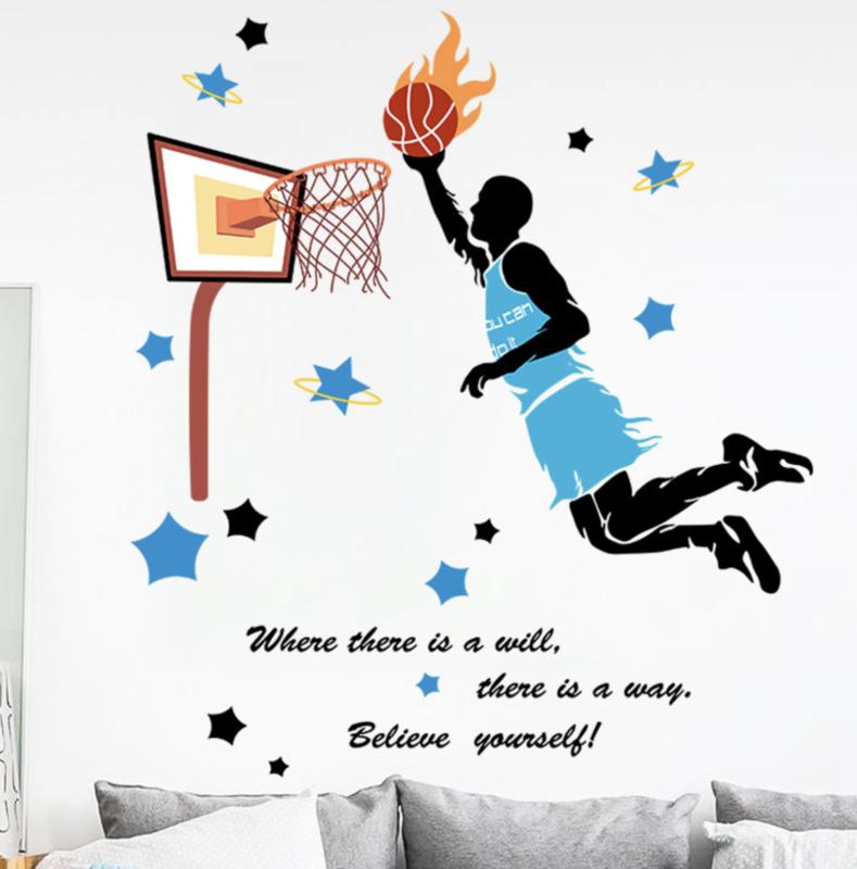Muursticker basketbal kinderkamer jongen