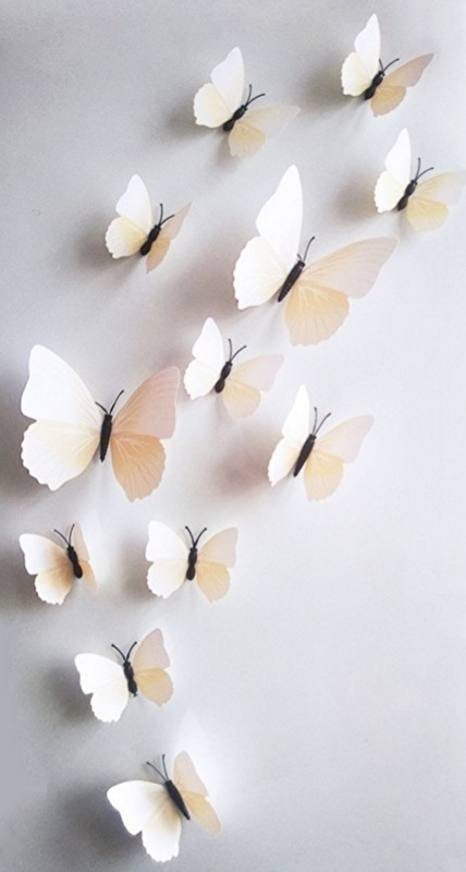 Kleurrijke 3D vlinders wit