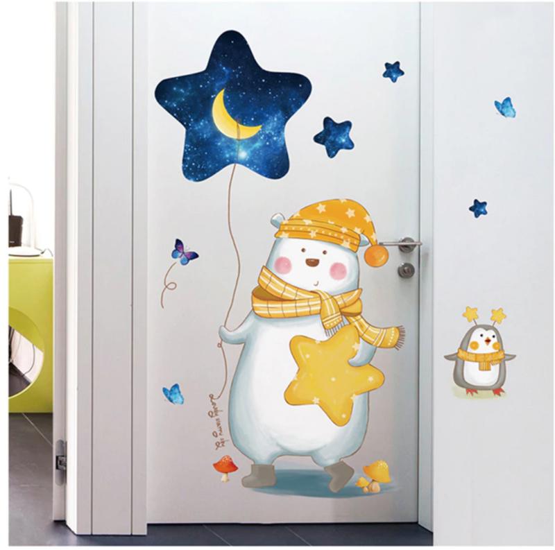 Muursticker beer met ballon en sterren ruimte kinderkamer