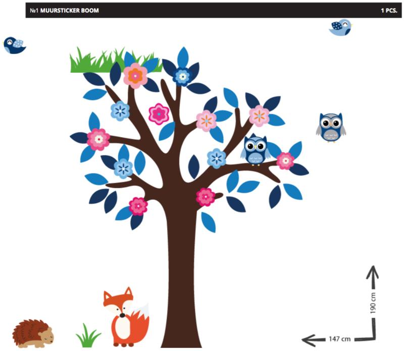 Muursticker boom grow tree Herpoel