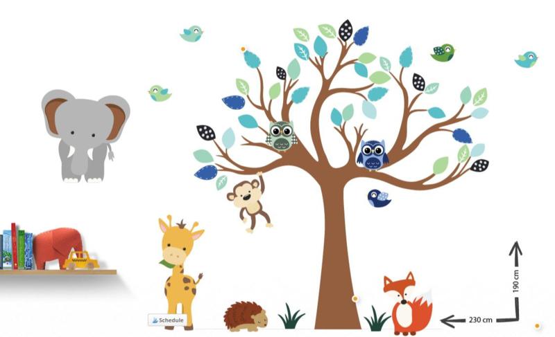 Muursticker boom van Leeuwen