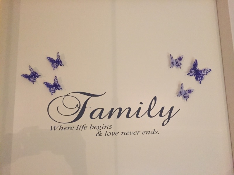 Muursticker quote Family where life begins en love never ends