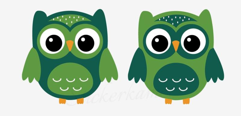 Little owl muursticker uilen licht groen - donker groen
