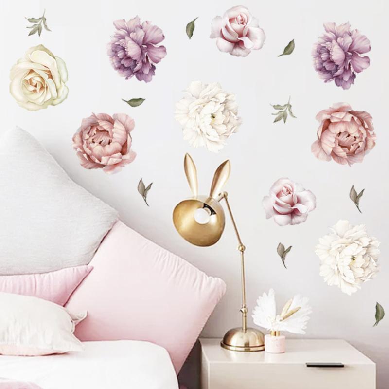 Muursticker pioenrozen bloemen stickers