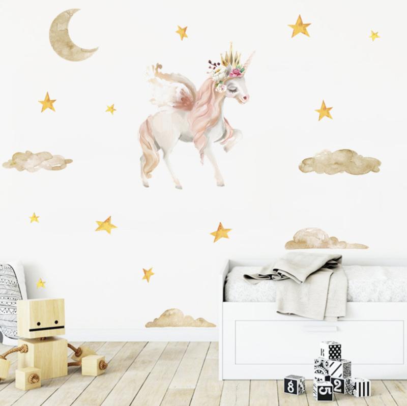 Muursticker unicorn - eenhoorn  en sterren meisjeskamer / babykamer