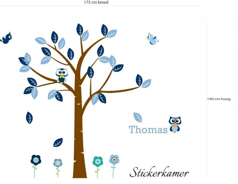 Jongenskamer boom met uilen en vogels (blauw)