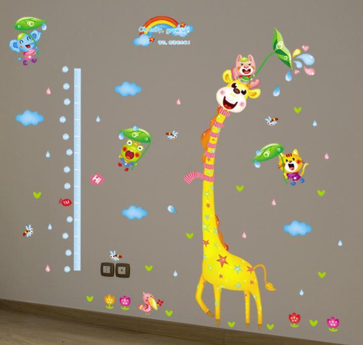 Muursticker hoogtemeter giraffe kinderkamer