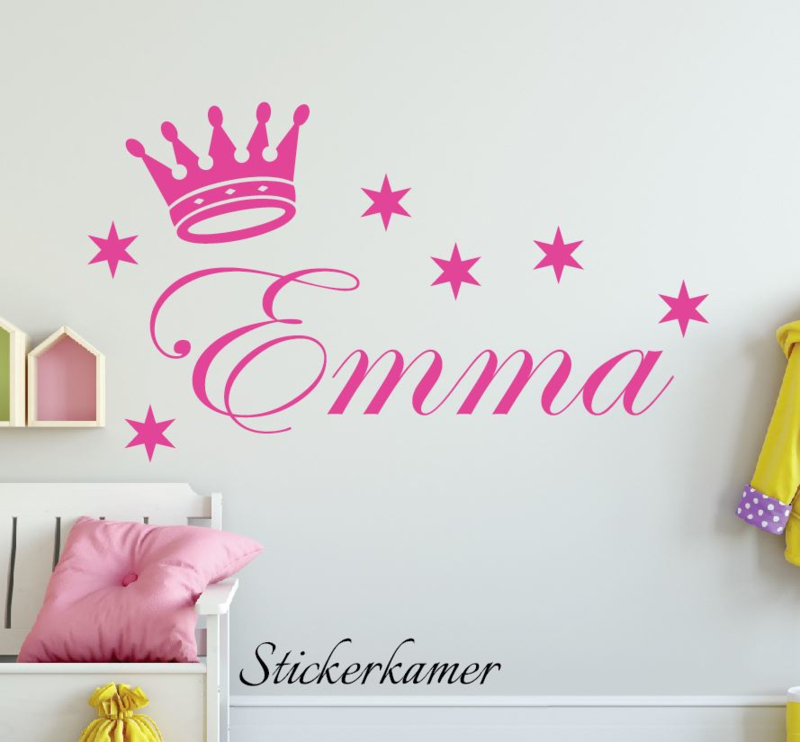Autocollant Nom avec la couronne et les étoiles
