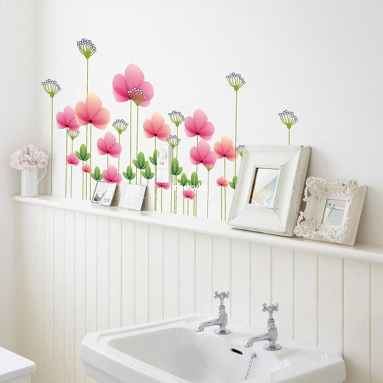 Muursticker bloemen strook roze poppy kinderkamer
