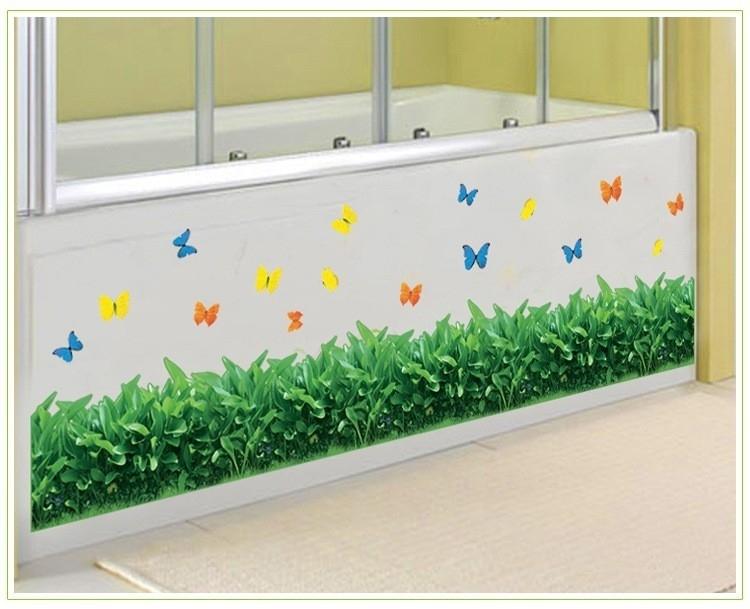 Muursticker gras strook met vlinders kinderkamer