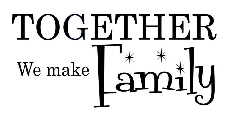 Together we make family muursticker tekst