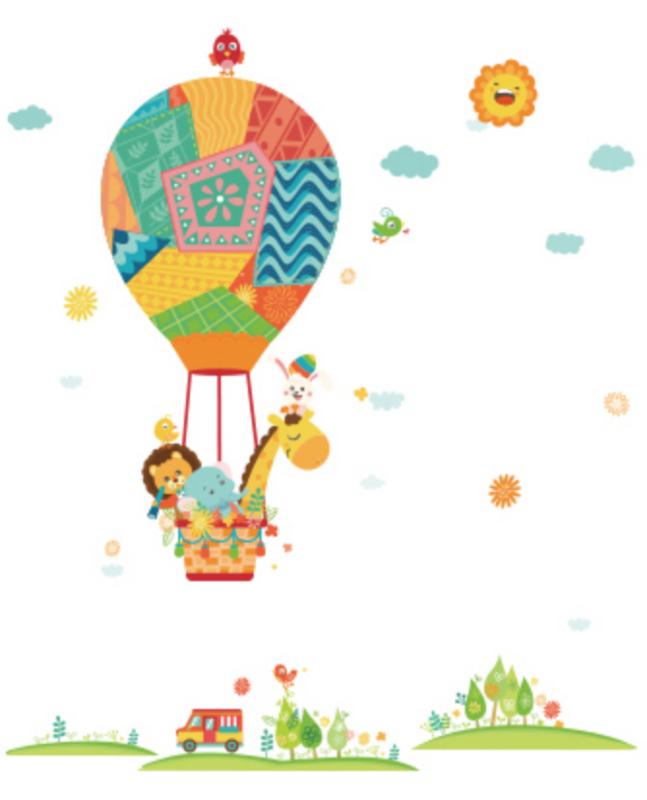 Luchtballon met dieren vriendjes op avontuur kinderkamer