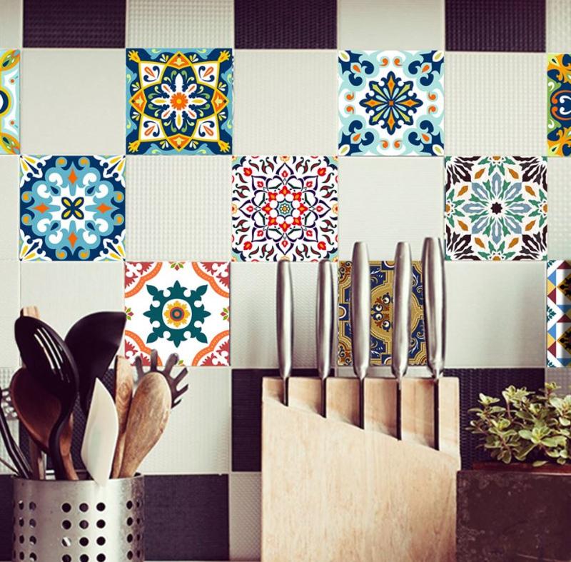 Mediteraanse tegel stickers met sierlijk patroon