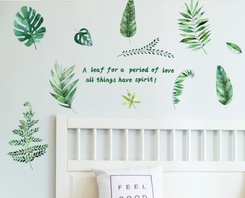 Muursticker palm bladen set groen