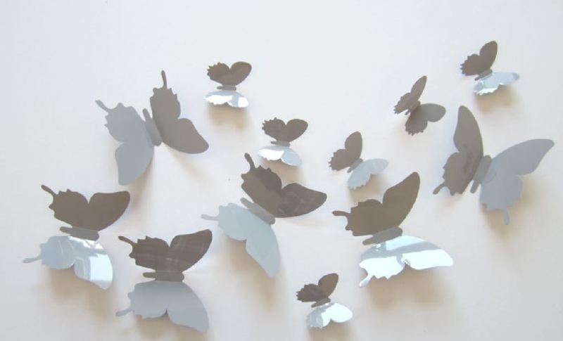 Muursticker losse 3d vlinders (grijs)