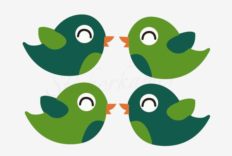 Little bird Licht groen - Donker groen (4 stuks)