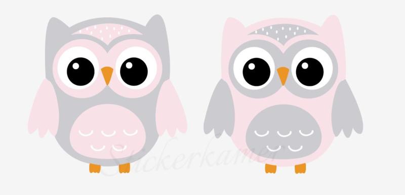 Little owl muursticker uilen licht grijs - roze