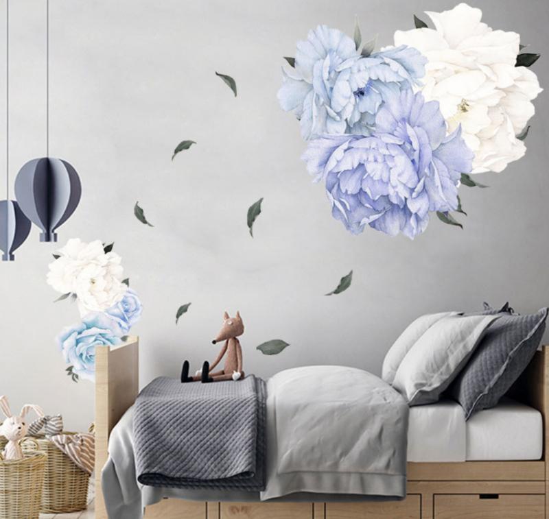Muursticker pioenroos bloemen blauw en wit  babykamer