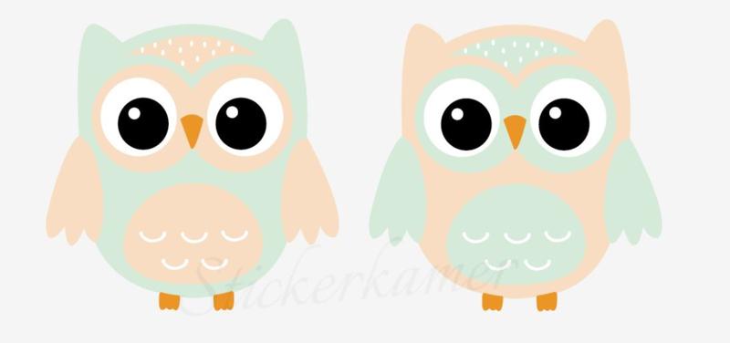 Little owl muursticker uilen oranje - groen
