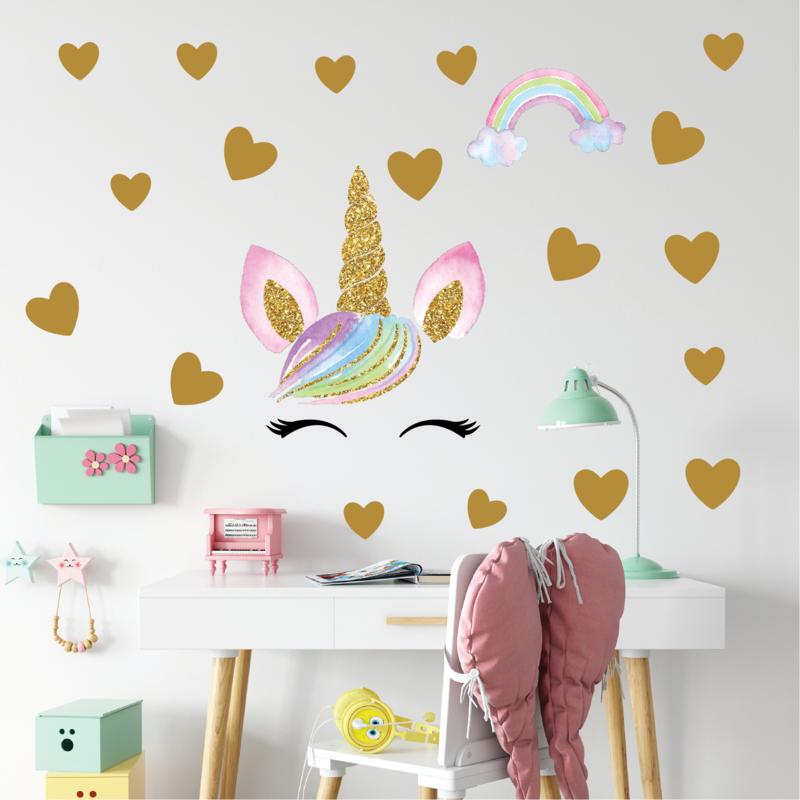 Muursticker unicorn - eenhoorn  oogjes en hartjes meisjeskamer / babykamer