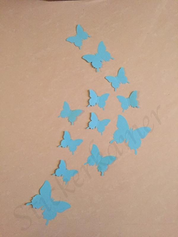 Muursticker losse 3d vlinders  (licht blauw)