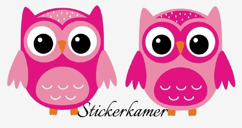 2 losse  uilen licht roze / donker roze