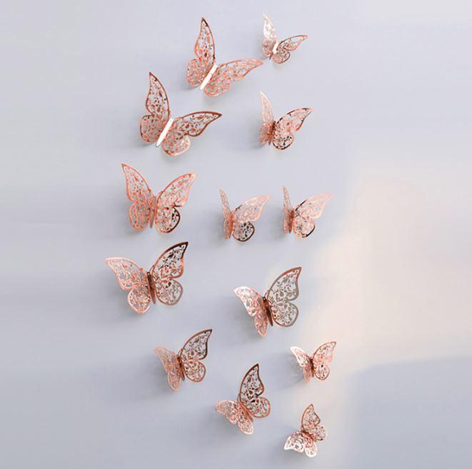 12 stuks rose gouden 3d vlinders muurdecoratie (3)