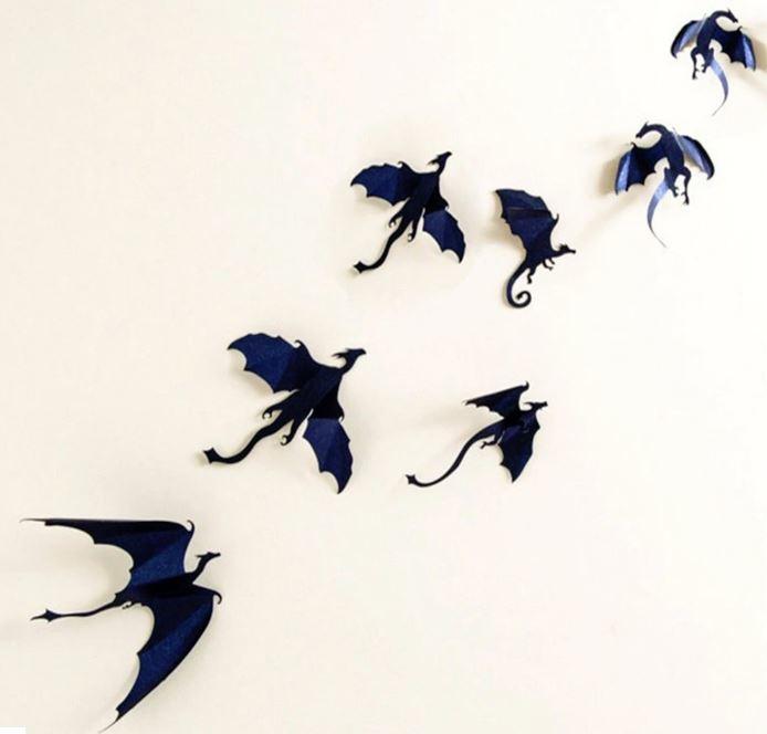 7 stuks 3d dinosaurus voor Halloween (zwart)