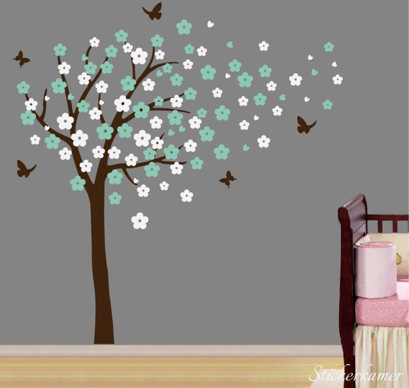 Muursticker bloesemboom XL Mint - Wit