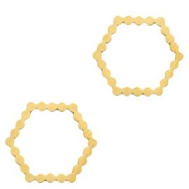 Roestvrij stalen (RVS) Stainless steel bedels/tussenstuk hexagon Goud