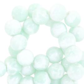 Glaskralen gemêleerd white-pastel turquoise green 6mm