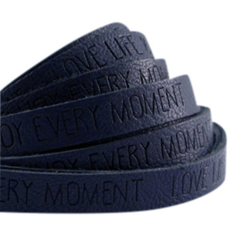 Plat imi leer 10mm met quote Love Life Dark midnight blue