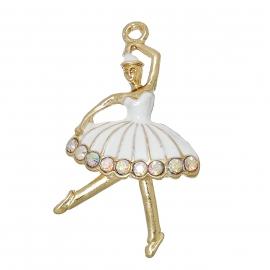 Charme ballerina enamel rhinestone white gold