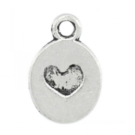 Pendant over with heart silver (wholesale)