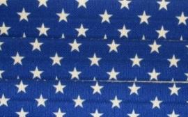 Elastiek sterretjes blauw wit 15mm