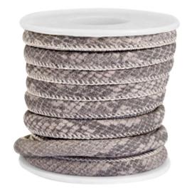 Gestikt leer imi 6x4mm snake mat deep taupe grey