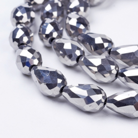 Glaskraal druppel silver 15x10mm