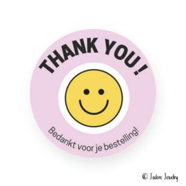 Sticker bedankt voor je bestelling roze