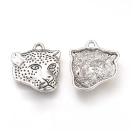 Bedel leopard head zilver