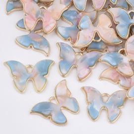 Bedel vlinder resin pink sky goud