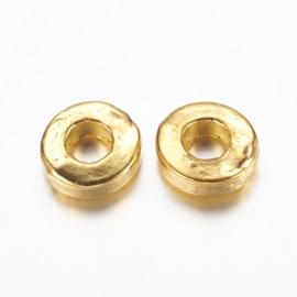 Kraal metaal disc plat 6x2mm goud