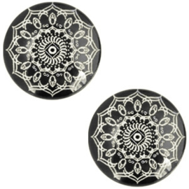 Cabochon mandala 12mm deep black