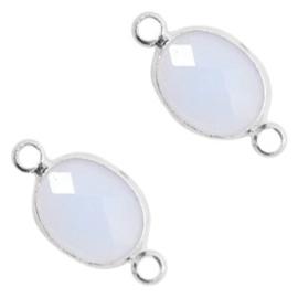 Tussenstukken van crystal glas ovaal 10x9mm Air blue opal-silver
