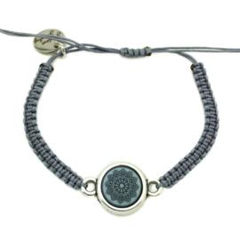 Armbandje ''mandala'' - grey, blue & zilver