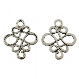 Connector Chinese knot silver (wholesale)