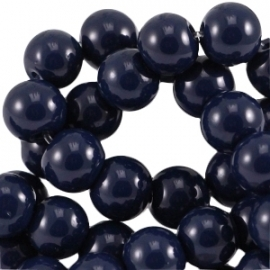 Glas perlen opaque dark navy blue 6mm