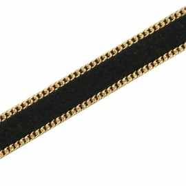 Imitation 10mm flat leather suède with chain gold-black