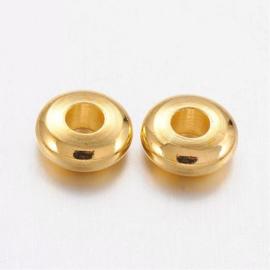Kraal metaal rondelle goud 5mm